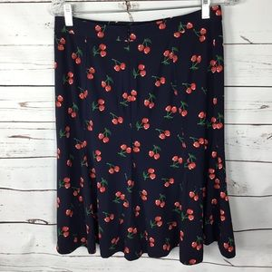 Talbots Navy Blue Skirt w/Cherries. Size 4